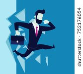businessman jump breaking the... | Shutterstock .eps vector #752176054