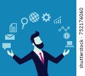 acrobat. businessman juggling... | Shutterstock .eps vector #752176060