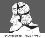 depressed young woman broken... | Shutterstock .eps vector #752177950