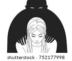 depressed woman with lowered... | Shutterstock .eps vector #752177998