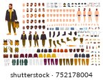 Fat man creation set or DIY kit. Collection of flat cartoon character body parts, face expressions, trendy hipster clothes isolated on white background. Front, side, back view. Vector illustration.  | Shutterstock vector #752178004