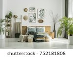 posters and hats on white wall... | Shutterstock . vector #752181808