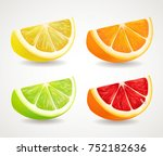 citrus fresh fruits set. orange ... | Shutterstock .eps vector #752182636