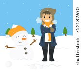 freezing and shivering young... | Shutterstock .eps vector #752182690