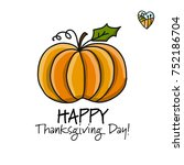 thanksgiving day  card with... | Shutterstock .eps vector #752186704