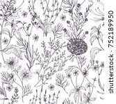 antique floral seamless pattern ... | Shutterstock .eps vector #752189950