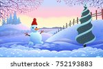winter holiday landscape.... | Shutterstock .eps vector #752193883