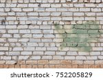 broken gray brick wall... | Shutterstock . vector #752205829