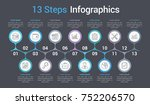 infographic template with 13... | Shutterstock .eps vector #752206570