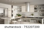 modern wooden kitchen with... | Shutterstock . vector #752207200