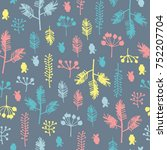seamless pattern with hand... | Shutterstock .eps vector #752207704