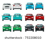 vector set cars front and rear... | Shutterstock .eps vector #752208010