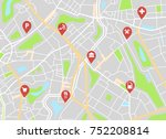 city map with navigation icons. ... | Shutterstock .eps vector #752208814