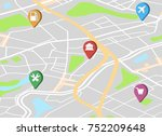 city map with navigation icons. ... | Shutterstock .eps vector #752209648