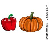 vector image of a pumpkin and... | Shutterstock .eps vector #752211574