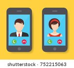 incoming call on smartphone... | Shutterstock .eps vector #752215063