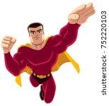 flying superhero over white...   Shutterstock .eps vector #752220103
