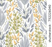seamless pattern with marine... | Shutterstock .eps vector #752226040