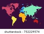 color world map vector | Shutterstock .eps vector #752229574