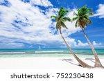 caribbean sea coast white sand... | Shutterstock . vector #752230438