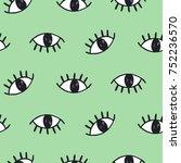 modern hand drawn eye doodles... | Shutterstock . vector #752236570