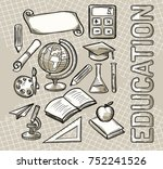 education monochrome concept... | Shutterstock .eps vector #752241526