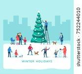 winter holidays. snowy street.... | Shutterstock .eps vector #752244010