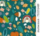 happy thanksgiving   turkey ... | Shutterstock .eps vector #752251489