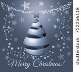 christmas silver ribbon tree ...   Shutterstock . vector #752256118