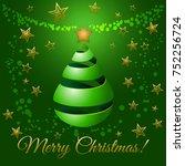 christmas green ribbon tree  3d ...   Shutterstock . vector #752256724