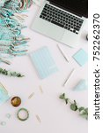 flat lay home office desk....   Shutterstock . vector #752262370