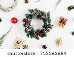 christmas composition. holiday... | Shutterstock . vector #752263684