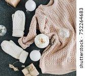 women's winter clothes look on... | Shutterstock . vector #752264683