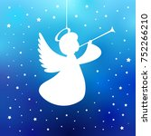 flying angel with trumpet on a... | Shutterstock .eps vector #752266210