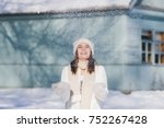 young beautiful girl in hat and ... | Shutterstock . vector #752267428