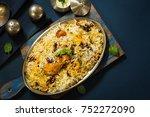 homemade chicken dum biryani... | Shutterstock . vector #752272090