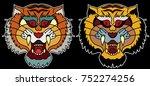 tiger face sticker vector.tiger ...   Shutterstock .eps vector #752274256