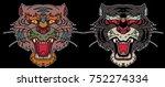 tiger face sticker vector.tiger ... | Shutterstock .eps vector #752274334