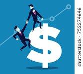 helping hand. businessman helps ... | Shutterstock .eps vector #752274646