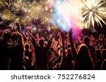 cheering crowd watching...   Shutterstock . vector #752276824