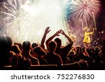 cheering crowd watching... | Shutterstock . vector #752276830