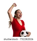 fan   sport player on red... | Shutterstock . vector #752282026