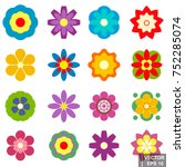 Stock vector seth flowers isolated on white background different simple flat style 752285074