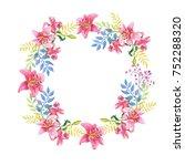 pink lilies.floral watercolor... | Shutterstock . vector #752288320