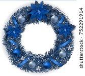 christmas wreath with fir...   Shutterstock .eps vector #752291914