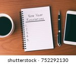 new year's resolution list on... | Shutterstock . vector #752292130