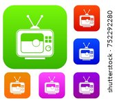 soccer match on tv set icon... | Shutterstock .eps vector #752292280