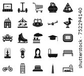 city hobby icons set. simple... | Shutterstock .eps vector #752294140