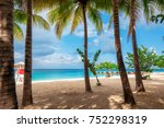 jamaica beach in montego bay on ... | Shutterstock . vector #752298319