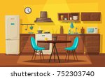 kitchen interior with furniture.... | Shutterstock .eps vector #752303740